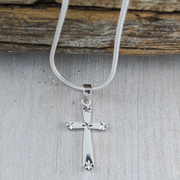Cross Pendant with Diamond Cut Accents, Sterling Silver