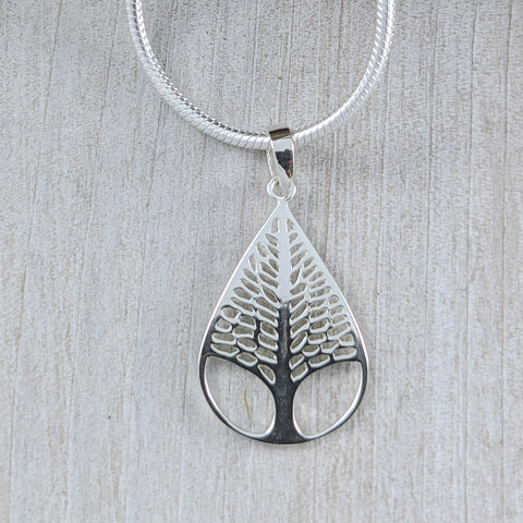Tree in Teardrop Pendant, Sterling Silver