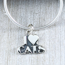 Load image into Gallery viewer, I Love Cats Pendant, Sterling Silver