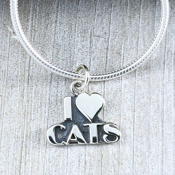 I Love Cats Pendant, Sterling Silver