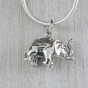 3D Elephant Pendant, Sterling Silver