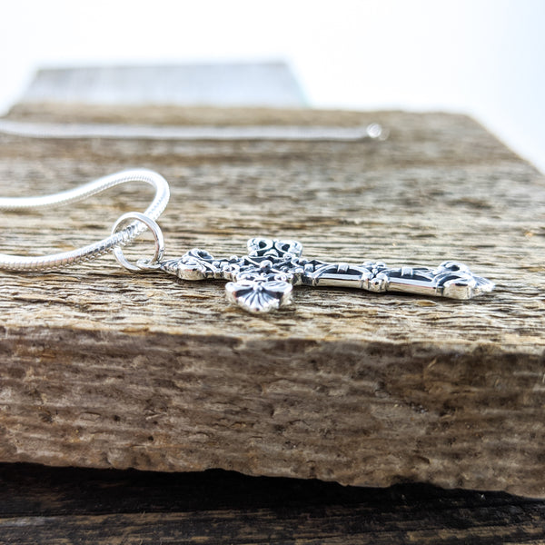 Intricate Cross Pendant, Sterling Silver