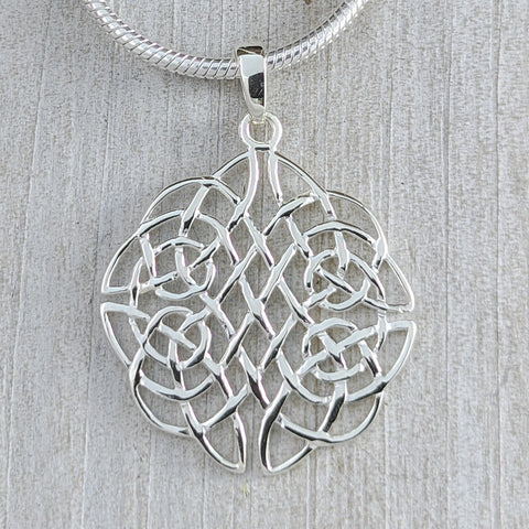 Openwork Never Ending Knot Pendant, Sterling Silver