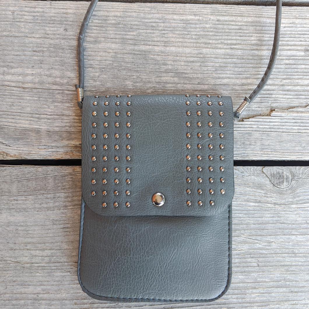 Studded Purse with Cell Phone Pocket, Faux Leather