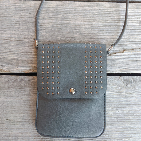 Studded Purse with Cell Phone Pocket : Dark Grey. Faux Leather.