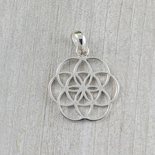Load image into Gallery viewer, Delicate Flower of Life Pendant, Sterling Silver