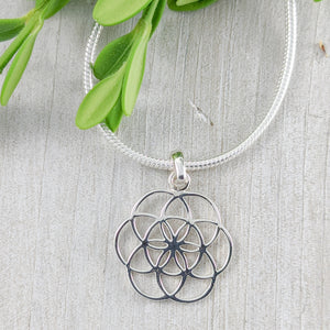 Delicate Flower of Life Pendant, Sterling Silver