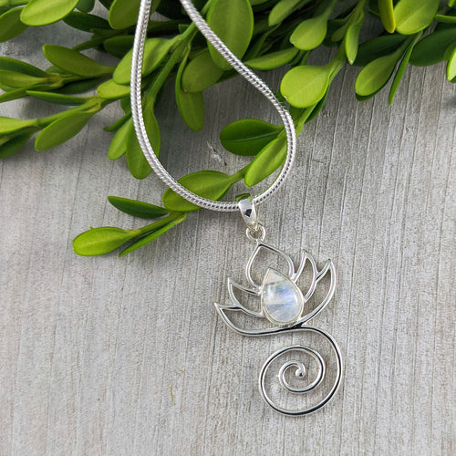 Lotus with Moonstone Pendant, Sterling Silver