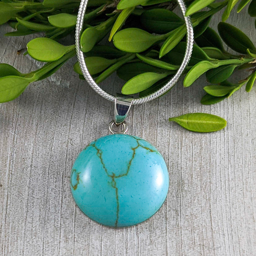 Turquoise Curved Pendant, Sterling Silver