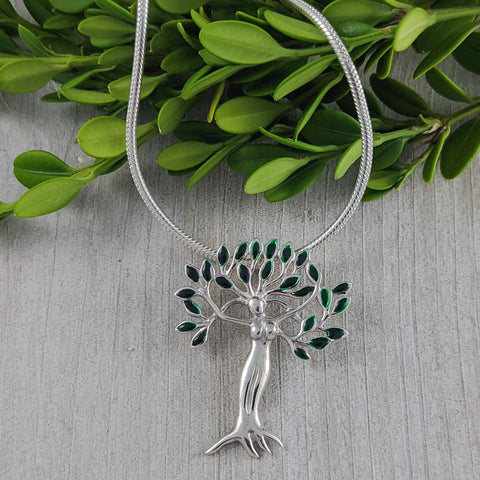 Woman Tree of Life Pendant, Sterling Silver