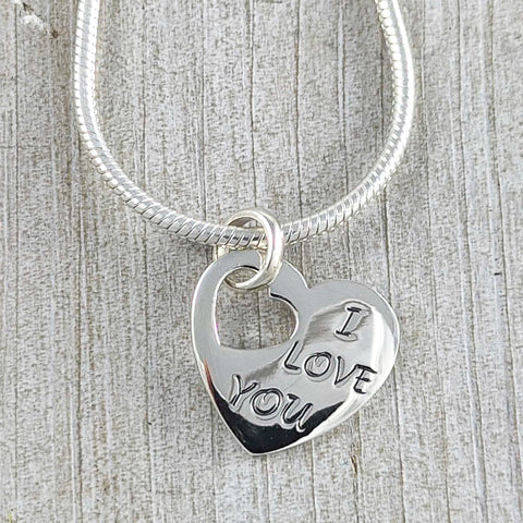 I Love You Heart Pendant, Sterling Silver