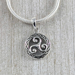 Triskelion Knot Surrounded by Rope Pendant, Sterling Silver