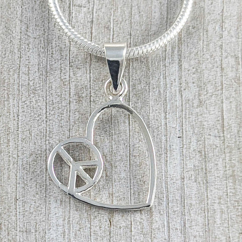 Heart & Peace Pendant, Sterling Silver