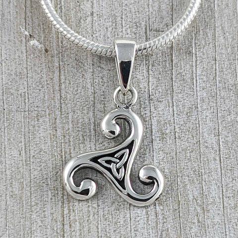 Triskelion Knot with a Trinity Knot Centre Pendant, Sterling Silver