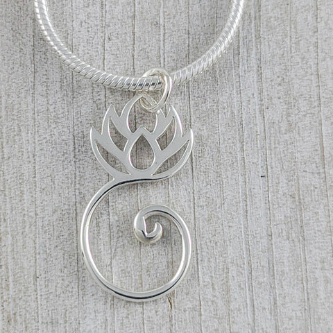Lotus with Swirl Pendant, Sterling Silver