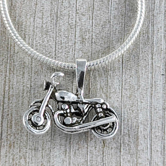 Motorcycle Pendant, Sterling Silver