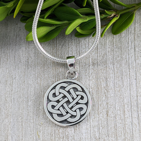Disc with Never Ending Knot Pendant, Sterling Silver