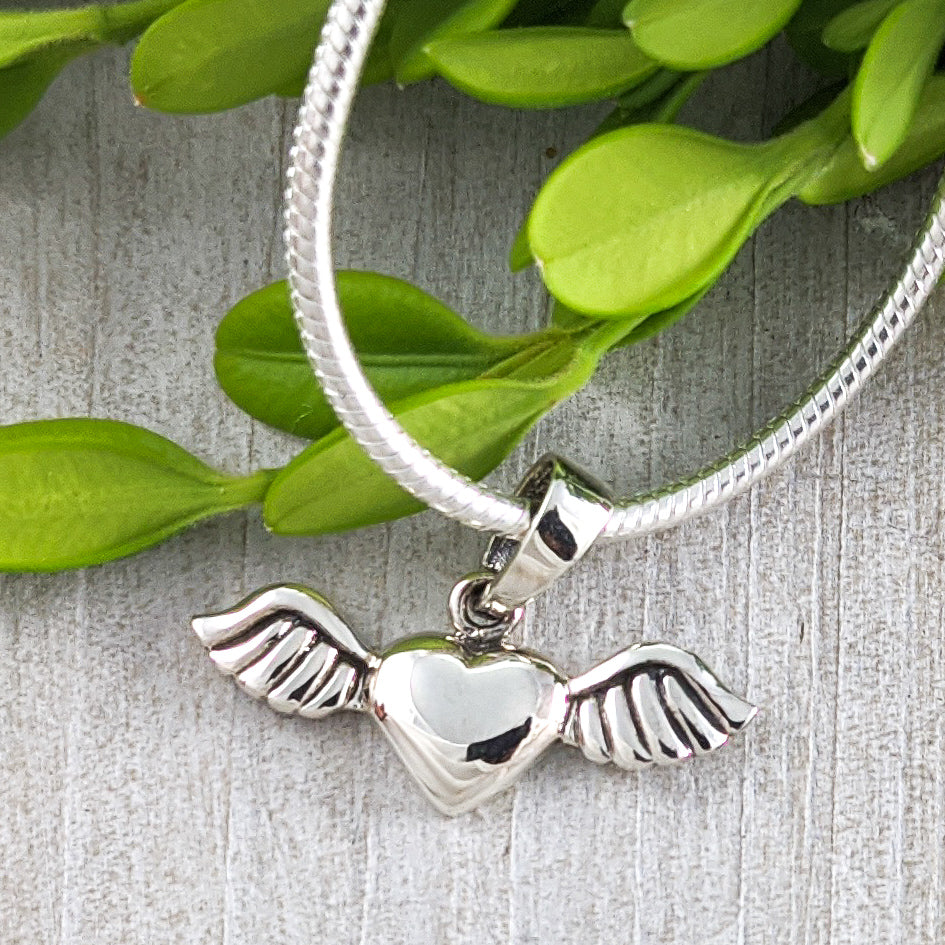Heart with Wings Pendant, Sterling Silver