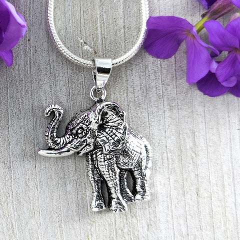 Life-like Elephant Pendant, Sterling Silver