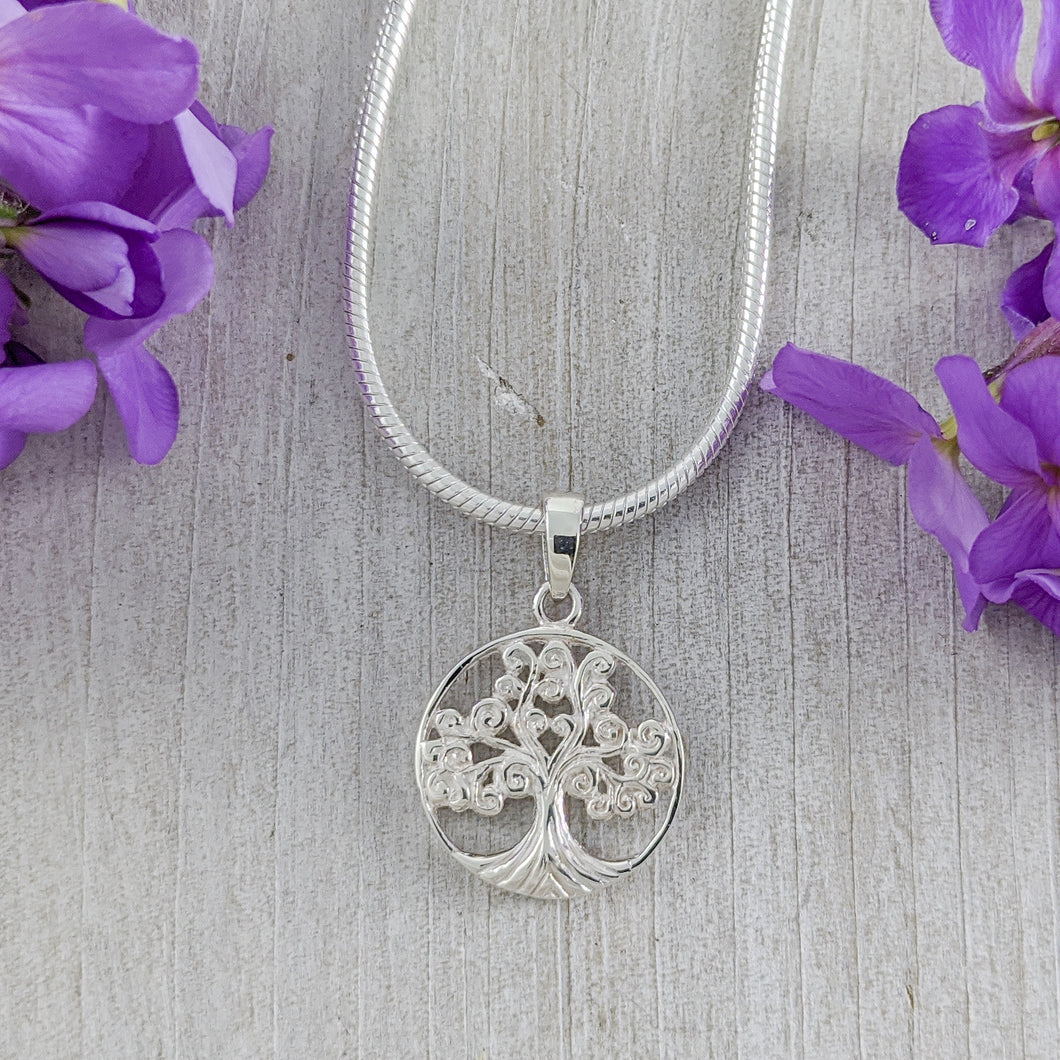 Curly Tree of Life Pendant, Sterling Silver