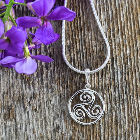Triskelion Knot in Circle Pendant, Sterling Silver