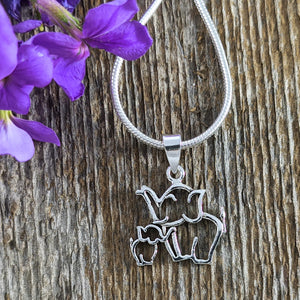 Mom & Baby Elephant Pendant, Sterling Silver