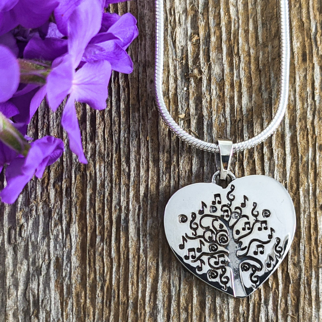 Musical Tree of Life Pendant, Sterling Silver