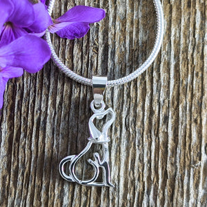 Dog Silhouette Pendant, Sterling Silver