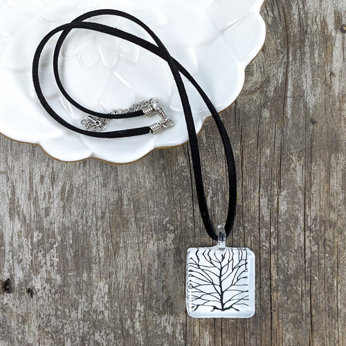 Glass Necklace : White Tree