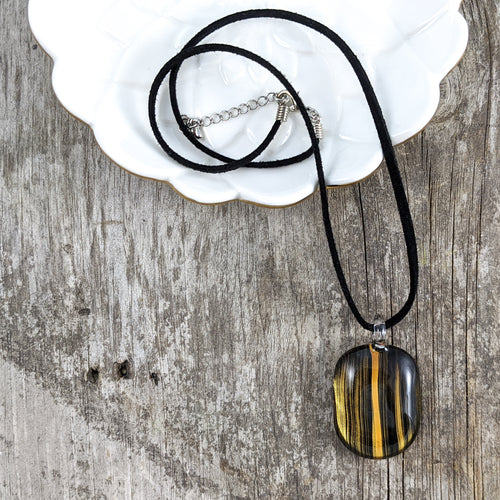 Glass Necklace : Gold Etch