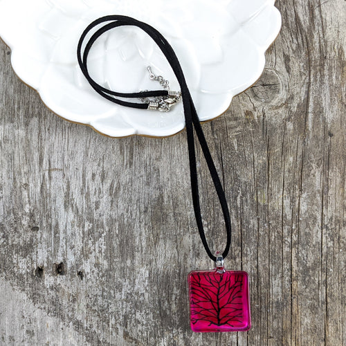 Glass Necklace : Pink Tree