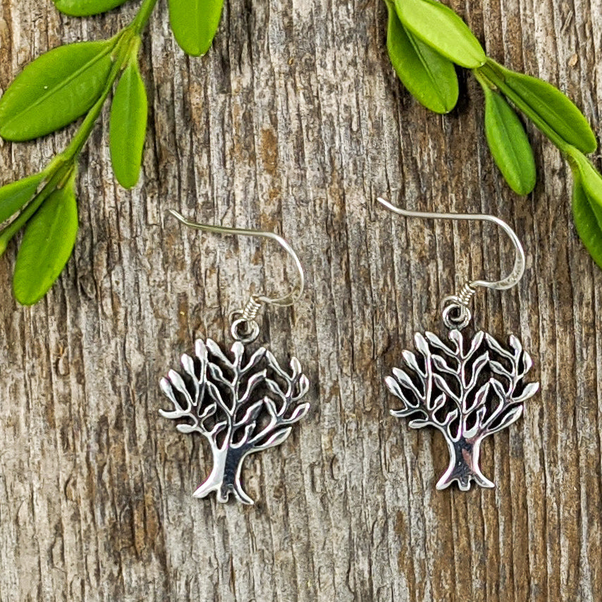 Autumn Tree of Life Earrings, Sterling Silver