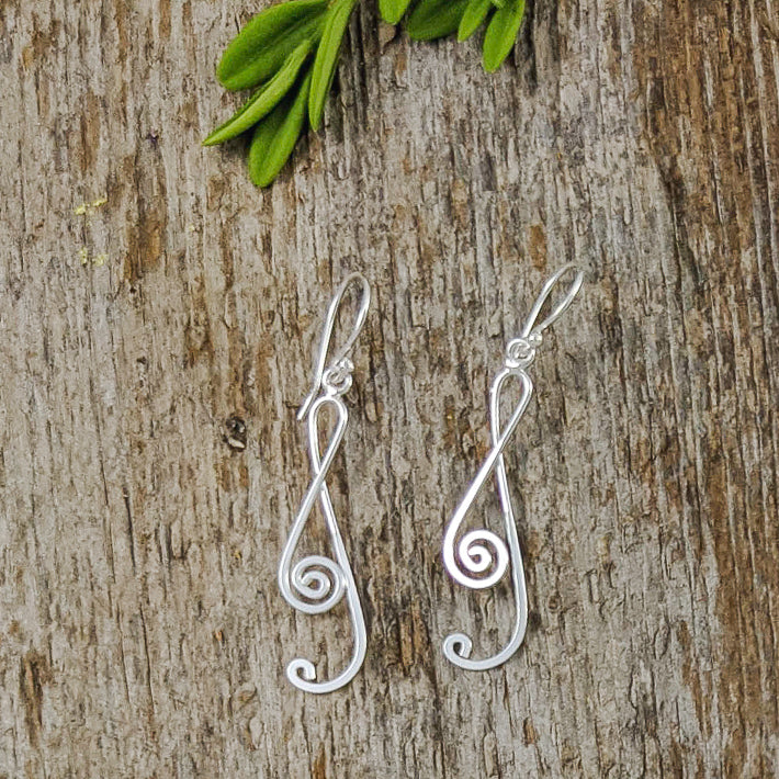 Treble Clef Earrings, Sterling Silver