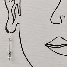 Load image into Gallery viewer, Long Bali Bead Stick Earrings, Sterling Silver