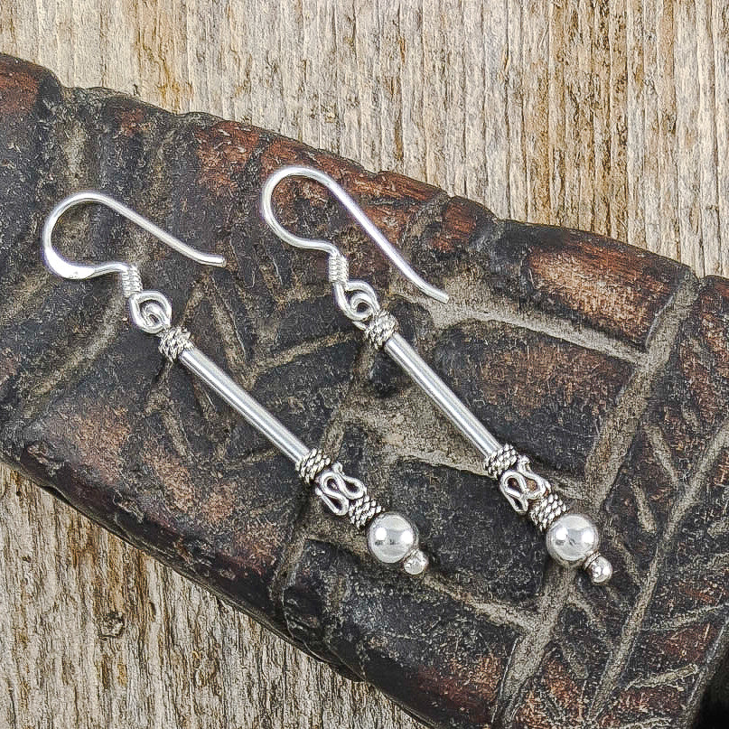 Long Bali Bead Stick Earrings, Sterling Silver