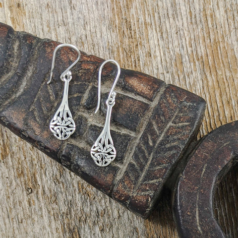 Teardrop with Celtic Knot End Earring, Sterling Silver