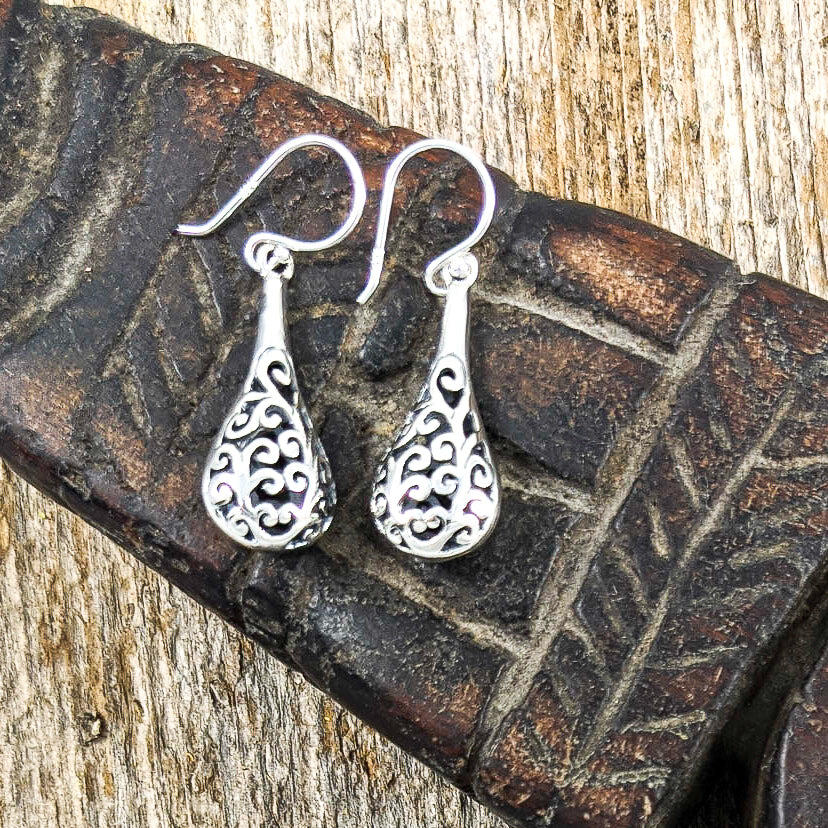 Detailed Filigree Teardrop Earrings, Sterling Silver
