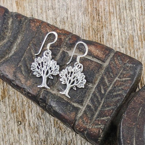 Summer Bloom Tree of Life Earrings, Sterling Silver