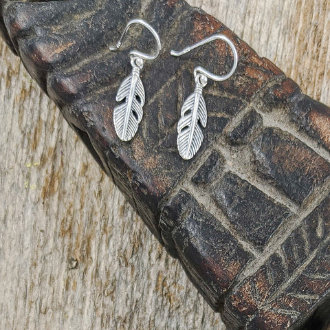 Small Detailed Feather Earrings, Sterling Silver