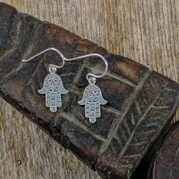 Hamsa/Fatima Hand Solid Earrings, Sterling Silver
