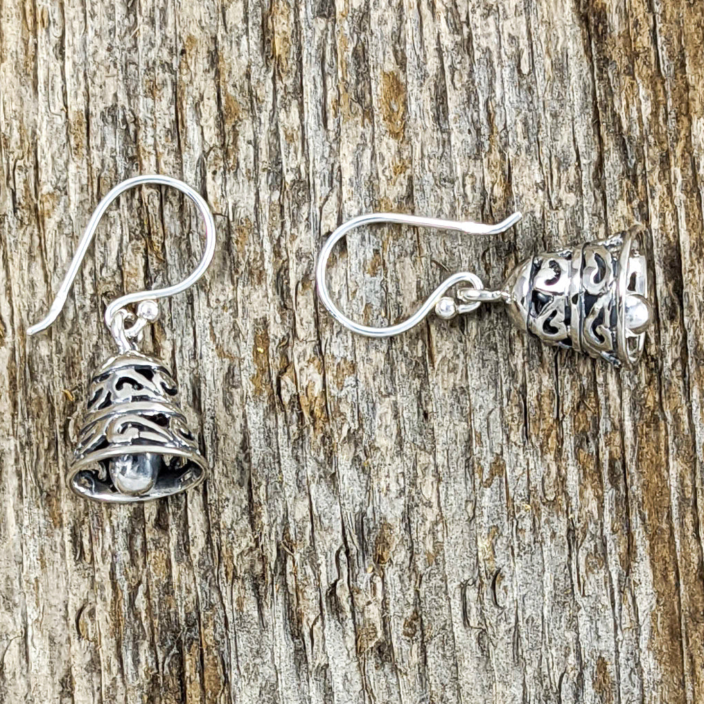 Small Filigree Bell Earrings, Sterling Silver