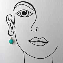 Load image into Gallery viewer, Oval Turquoise Earrings, Sterling Silver