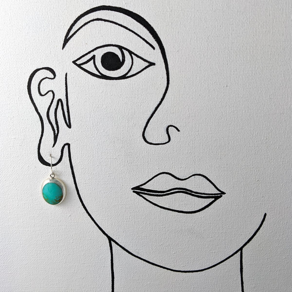 Oval Turquoise Earrings, Sterling Silver