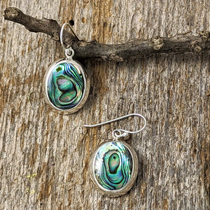 Oval Abalone Earrings, Sterling Silver