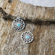Load image into Gallery viewer, Flower with Turquoise Centre Earrings, Sterling Silver