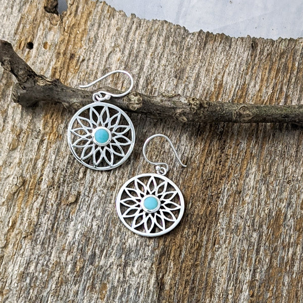 Flower with Turquoise Centre Earrings, Sterling Silver