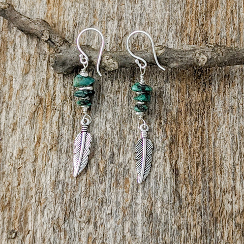 Turquoise Stones with Feather Earrings, Sterling Silver