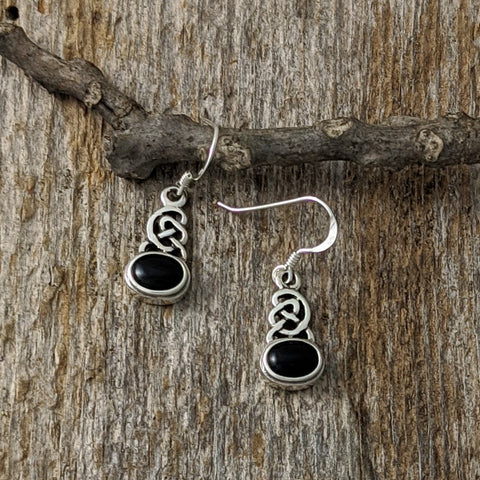 Black Onyx Celtic Knot Earrings, Sterling Silver