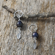 Load image into Gallery viewer, Grey Cultured Pearl with Small feather Earrings, Sterling Silver