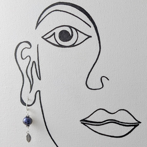 Grey Cultured Pearl with Small feather Earrings, Sterling Silver